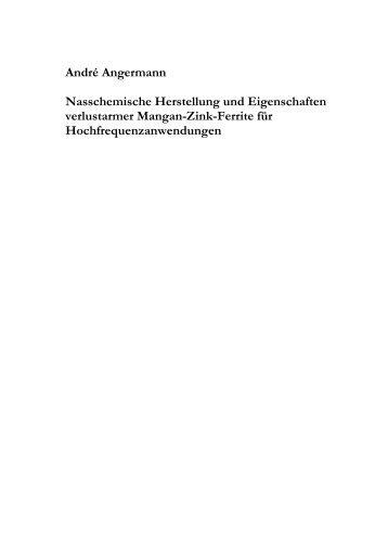 Nasschemische Herstellung und Eigenschaften verlustarmer ...