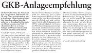 GKB-Anlageempfehlung - Graubündner Kantonalbank