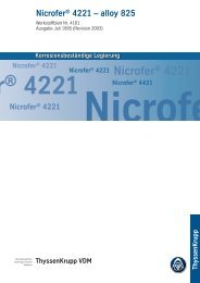 Nicrofer® 4221 – alloy 825 - ThyssenKrupp VDM