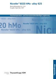 Nicrofer® 6020hMo – alloy 625 - ThyssenKrupp VDM