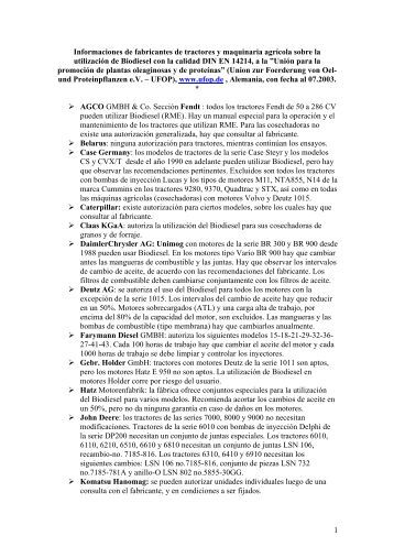 Informaciones de fabricantes de tractores y maquinaria agrícola - Inia