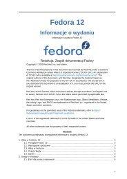 Informacje o wydaniu - Informacje o wydaniu Fedory 12 - Fedora