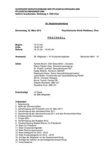 Protokoll HV 2012 - SBK Sektion Graubünden