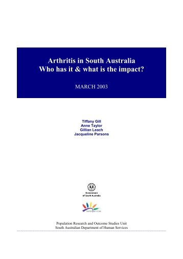 Arthritis in South Australia. Who has it and