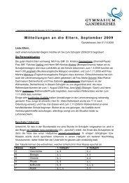 Mitteilungen an die Eltern, September 2009 - beim Gymnasium ...