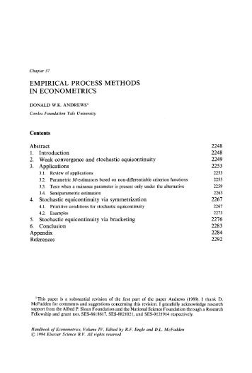 empirical methods of economics This chapter discusses how applied researchers in corporate finance can address endogeneity concerns we begin by reviewing the sources of endogeneity - omitted.
