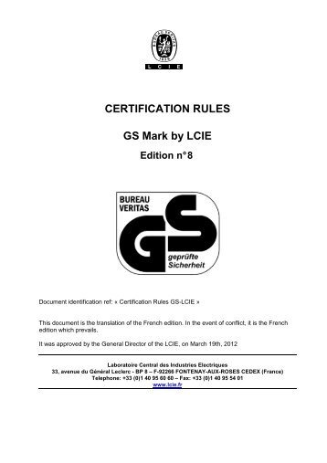 Rules and Guidance for use of the LPCB Certification Marks