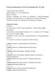 1 Vorlesung: Metallorganische Chemie der Übergangsmetalle / Teil I