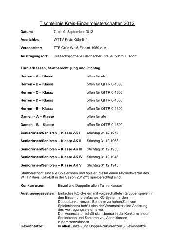 Erwachsene - Tischtennis im Kreis Köln-Erft