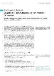 Logistik bei der Aufbereitung von Medizin- produkten - DGSV