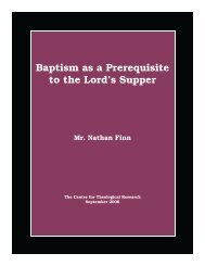 Baptism as a Prerequisite to the Lord's Supper