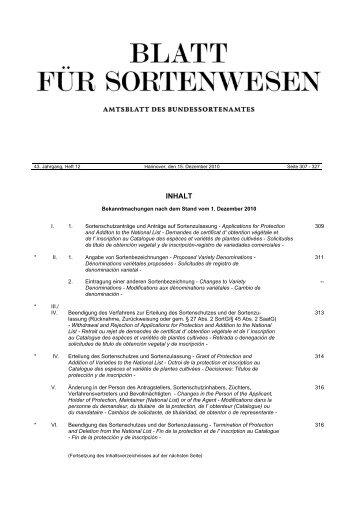Dezember 2010 - Bundessortenamt
