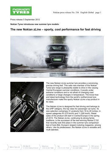 The new Nokian zLine – sporty, cool performance for - Nokian Tyres