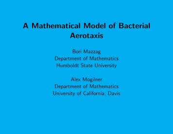 A Mathematical Model of Bacterial Aerotaxis - Humboldt State ...