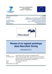 Minutes of six regional workshops about Naturalistic Driving