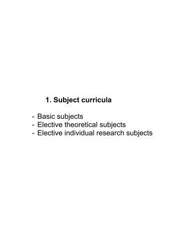 Elective theoretical subjects - Biotehniška fakulteta - Univerza v ...