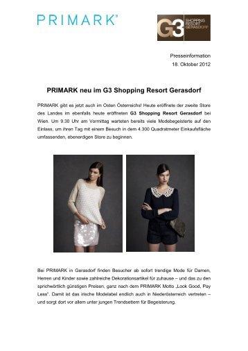 PRIMARK neu im G3 Shopping Resort Gerasdorf