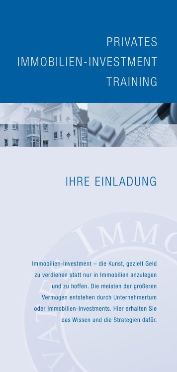 PRIVATES IMMOBILIEN-INVESTMENT TRAINING ... - SZ-Immo.de