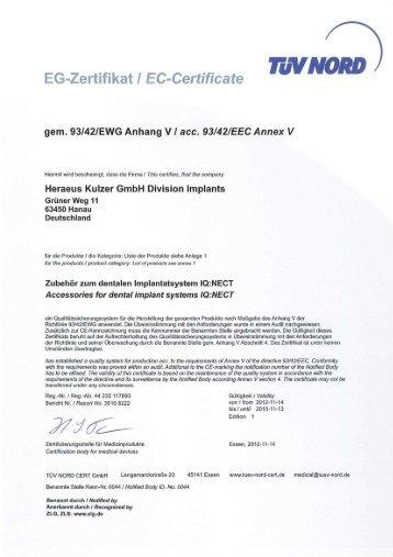 Zertifikat 93/42/EWG Anhang V - Heraeus Dental