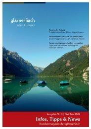 Kundenmagazin der glarnerSach, Ausgabe Oktober 2009