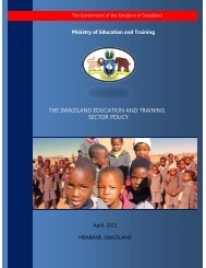 the swaziland education and training sector policy - Planipolis ...