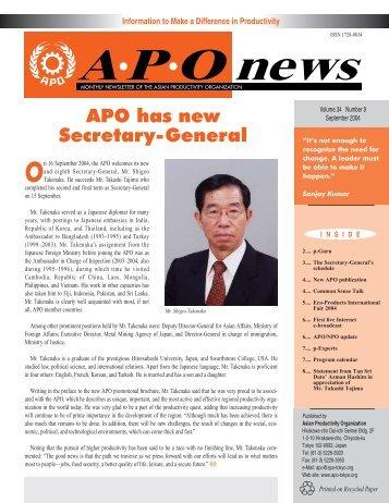 APO has new Secretary-General - Asian Productivity Organization