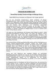 Presseinfo OwnerShip kündigt Charterverträge mit Beluga Group