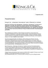 """Presseinformation König & Cie.: """"Infrastruktur International I"""" jetzt in ..."""