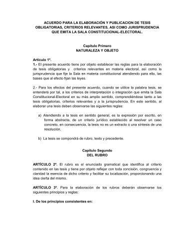acuerdo para la elaboración y publicacion de tesis - Tribunal ...