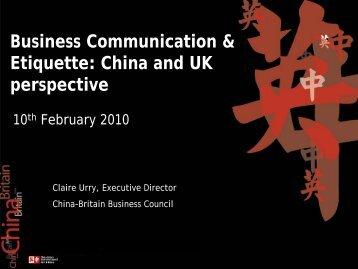 Business Communication & Etiquette: China and UK ... - Emita
