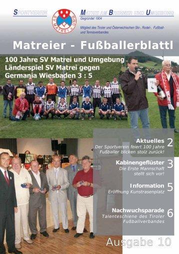 Matreier - Fußballerblattl 2 3 5 6 Ausgabe 10 - Vereinsmeier