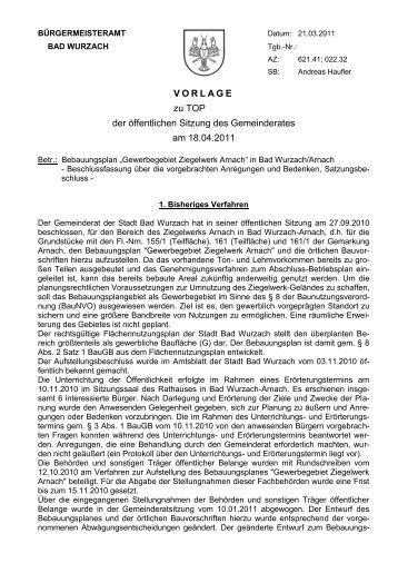 """Bebauungsplan"""" Gewerbegebiet Ziegelwerk Arnach"""" - Der Wurzacher"""