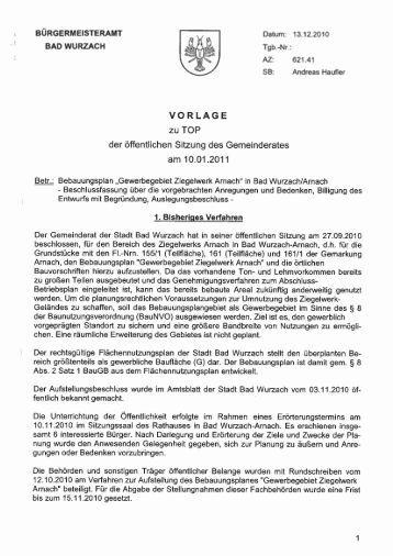 Beschlussvorlage - Der Wurzacher