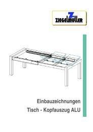Einbauzeichnungen Tisch - Kopfauszug ALU