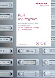 Profil und Programm 2010 / 11 - BMW Stiftung Herbert Quandt