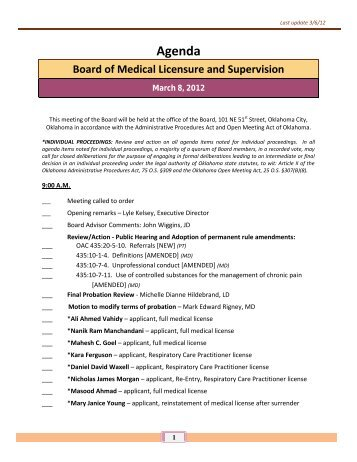Licensed Since Last Board Meeting - Oklahoma Medical Board