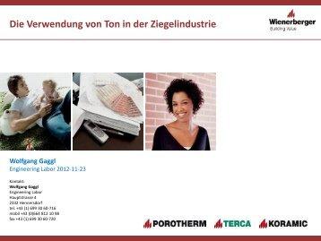 Die Verwendung von Ton in der Ziegelindustrie Wolfgang Gaggl