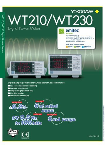 WT210/WT230 Digital Power Meters - emitec-industrial.ch
