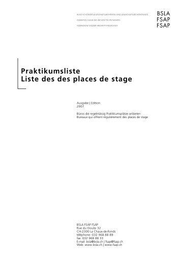 Praktikumsliste Liste des des places de stage - BSLA