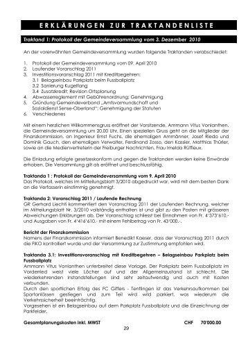 Erklärungen zur traktandenliste, seite 29-40 - Gemeinde Tentlingen