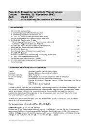 Protokoll der Gemeindeversammlung vom 26.11.2012