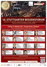 10. STUTTGARTER WISSENSFORUM - Speakers Excellence