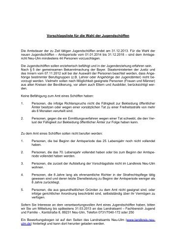 Auswahlkriterien - Landkreis Neu-Ulm