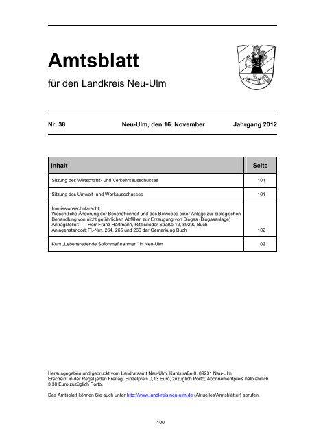 Amtsblatt Nr. 38 vom 16. November 2012 (76.73 - Landkreis Neu-Ulm
