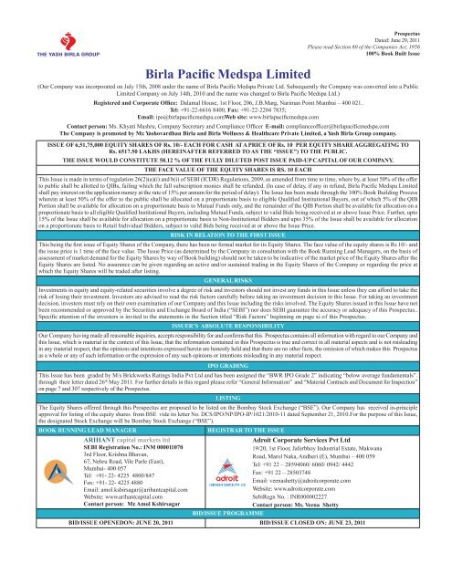 Birla Pacific Medspa Limited - Securities and Exchange Board