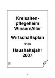 Wirtschaftsplan für das Kreisaltenpflegeheim ... - Landkreis Celle