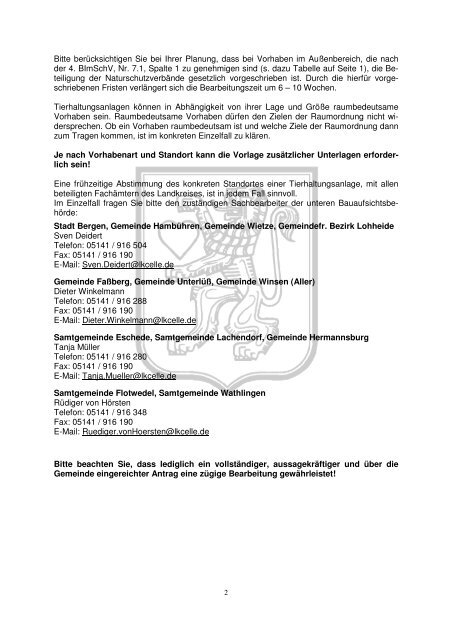 Merkblatt zu Bauanträgen für Tierhaltungsanlage - Landkreis Celle
