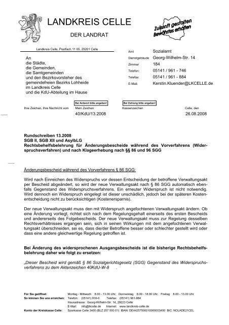 Rechtsbehelfsbelehrung Nach 86 Und 96 Sgg Landkreis Celle