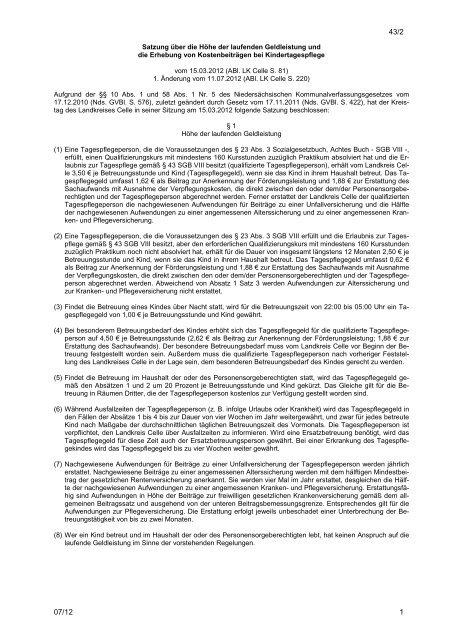 Satzung für das Jugendamt des Landkreises Celle - Landkreis Celle