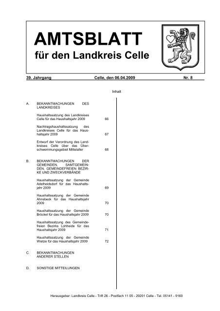 Amtsblatt 08-2009 - Landkreis Celle